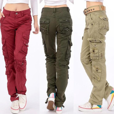 cottonsolidcolor, multipocket, pants, loosestraightpant