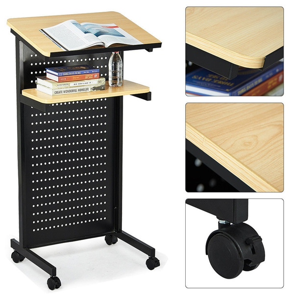 Wheeled Mobile Lectern Podium Rolling Compact Stand Up Desk W Storage Shelf Wish