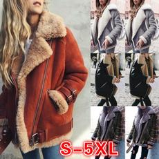casual coat, fur coat, Fleece, Plus Size