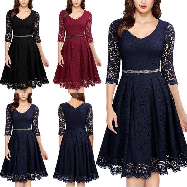 Swing dress, slim, Vintage Dresses, Sleeve