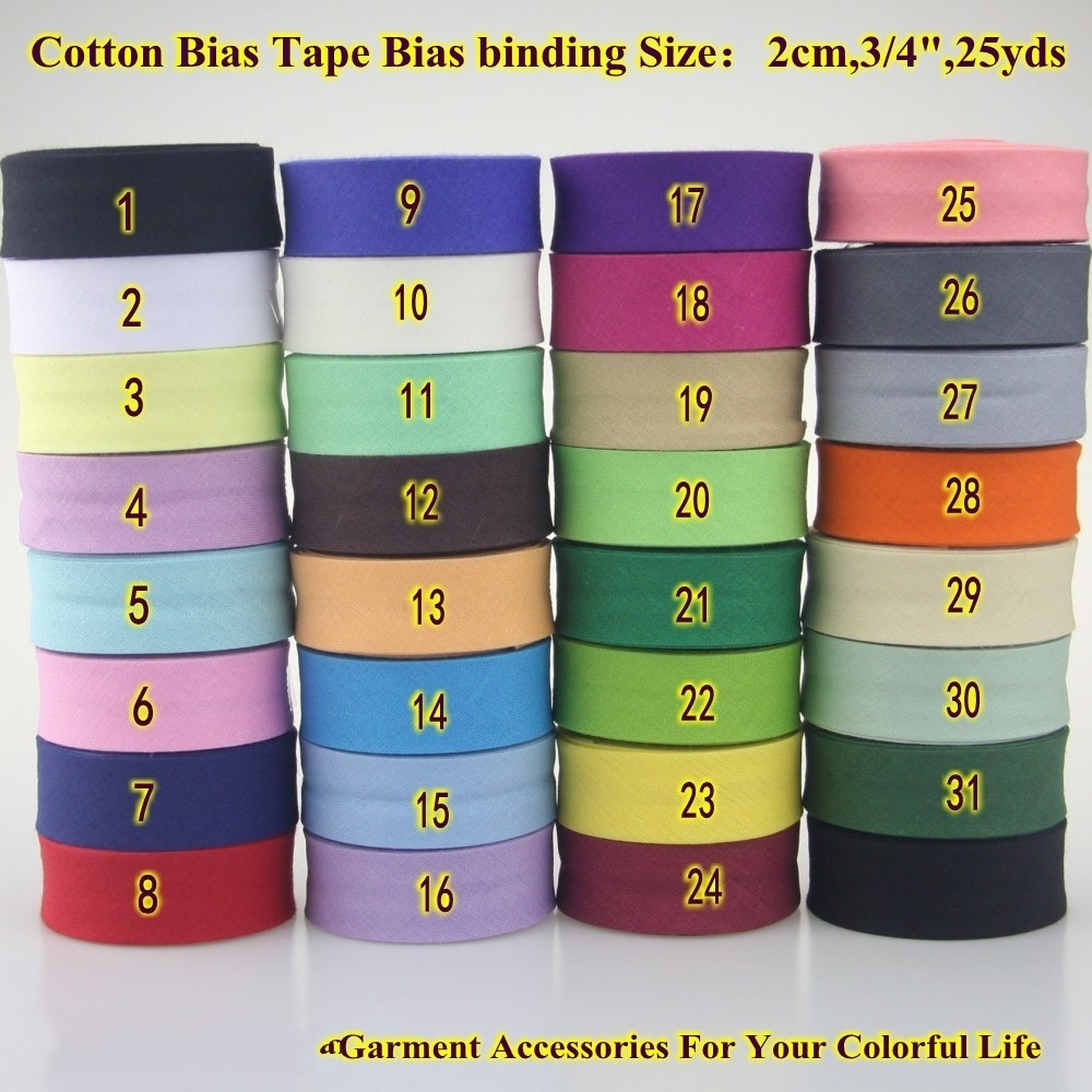 10meters-10.93yds Various Colors Single Fold Cotton Bias Binding Tape DIY Garment Accessories 20mm-13//16inch White
