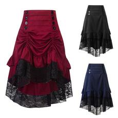 Goth, ruffle, Lace, high waist skirt