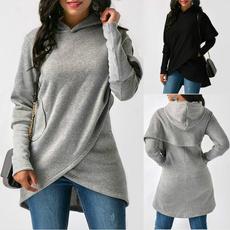 irregulartshirt, hooded, Tops & Blouses, Winter
