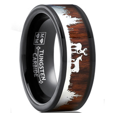 Wood, silhouette, Rose Gold Ring, Hunting