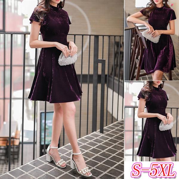 velvet, Sleeve, purple, plus size dress