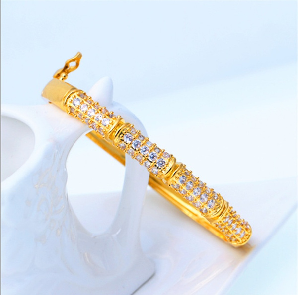 DIAMOND, Wristbands, Gold Bangle, Elegant