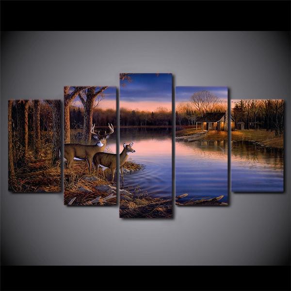 Deer Lake Landscape Sunset Nature 5 Pcs Canvas Art Framed Print Wall Home Decor