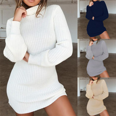 collar slim, slim, sweater dress, Winter