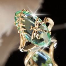 dragon fly, Engagement, emeraldring, gold