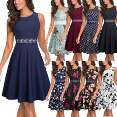 Lace, Dress, Swing, floral lace