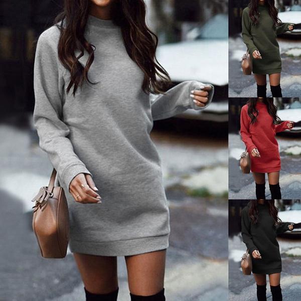 Round neck, Fleece, dressesforwomen, sweater dress