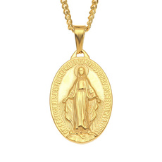 virginmarynecklace, Steel, 18k gold, Christian