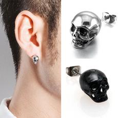 Black Earrings, Goth, punk earring, skull