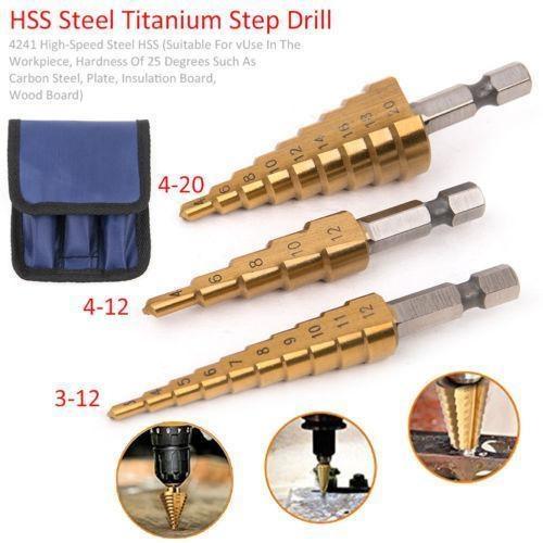 steeldrillstep, conedrillbit, hexshank, holecutter