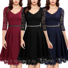 Women, Lace, Deep V-neck Dress, women dresses