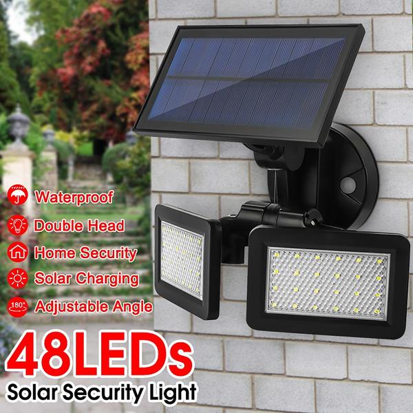 48led Dual Head Solar Motion Sensor, Solar Outdoor Patio Deck Lights 48 Led