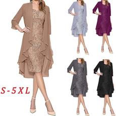 lace dresses, Plus Size, Lace, knee length dress