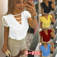 blouse, summer t-shirts, Lace, Office