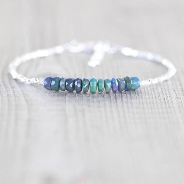 Sterling, Beaded Bracelets, opals, Jewelry