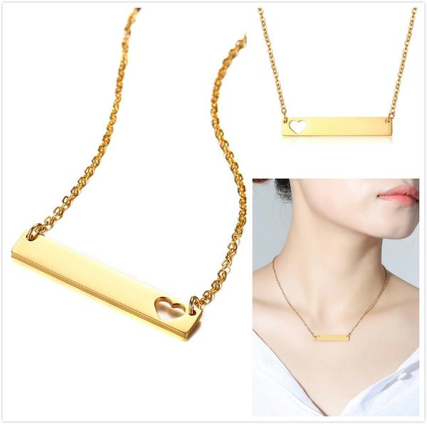 Steel, Heart, Chain Necklace, Jewelry