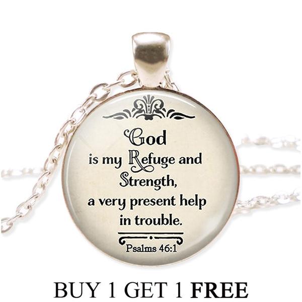 refuge, bibleversenecklace, francaisfashion, Jewelry