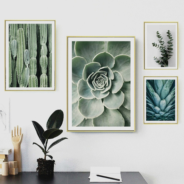 Scandinavian Plants Lotus Cactus Canvas Art Print Wall Poster Wall Pictures Wall Painting For Bedroom Living Room Wall Art Home Decor Frame Not Include Wish