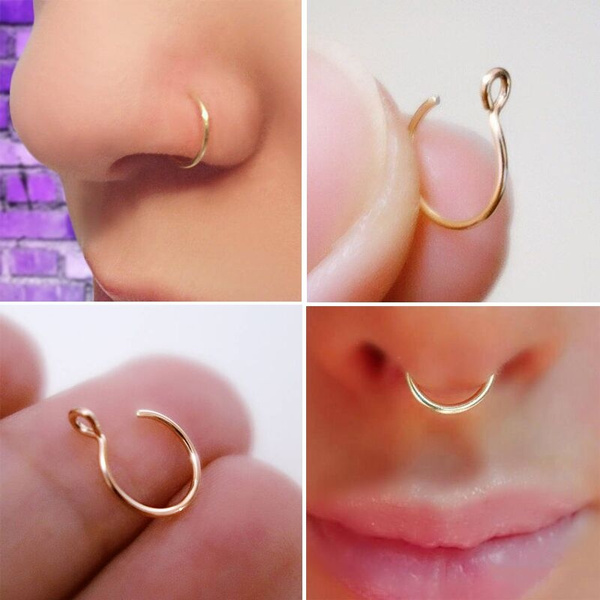cliponnosering, fakepiercing, Jewelry, gold