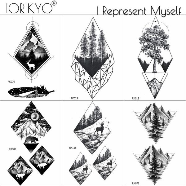 Iorikyo Black Geometric Forest Temporary Tattoo Men Body Art Drawing Tattoo Stickers Women Arm Makeup Pine Tree Fake Tatoos Hill Wish
