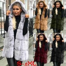 Vest, hooded, blackfauxfurhoodedvestforwomen, fauxfurhoodedwaistcoat