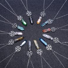 wiccanecklace, quartz, auraquartzwiccacharm, Chain
