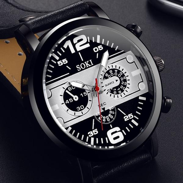 quartz, Army, leather, Watch