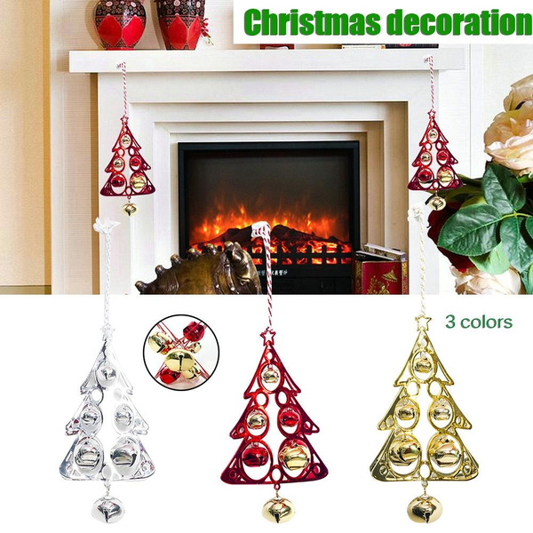 Christmas Tree Shaped Metal Bell Pendant Decoration Christmas Ornaments Holiday Decoration Wish