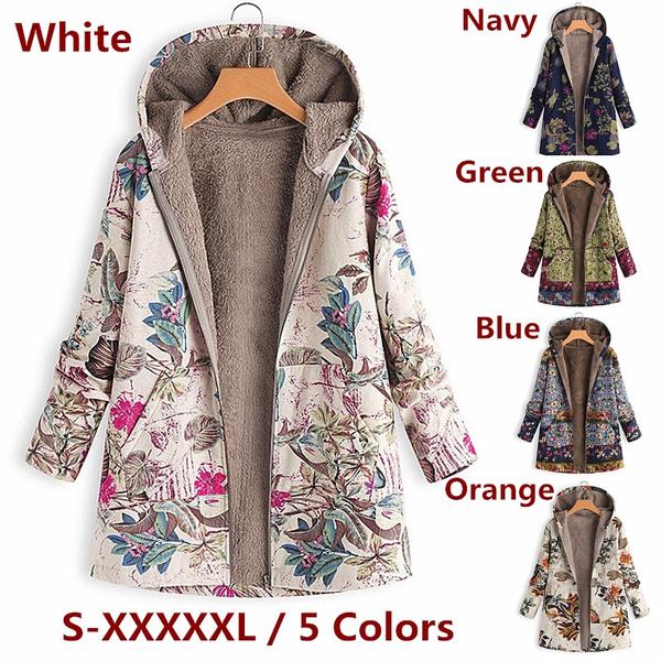 fur coat, Plus Size, Floral print, Sleeve