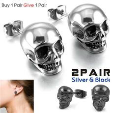 Steel, hip hop jewelry, Men Earrings, punk earring