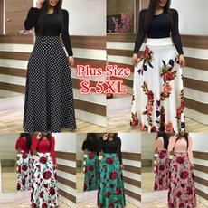 floalprint, Plus Size, sleeve dress, high waist