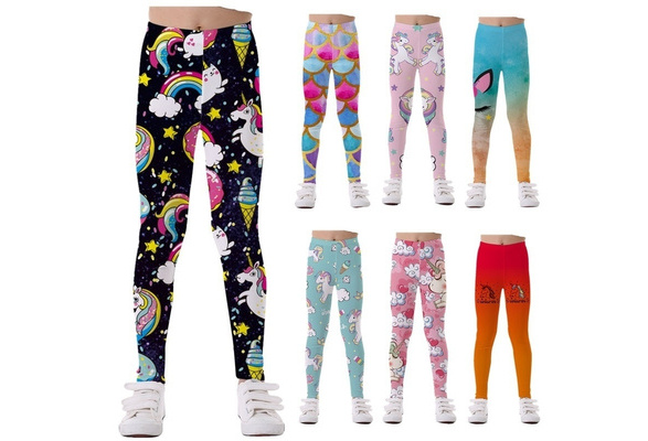 KIDVOVOU Kids Leggings Rainbow Unicorn Full-Length Great Stretch Leggings for Girls 4-11 Years