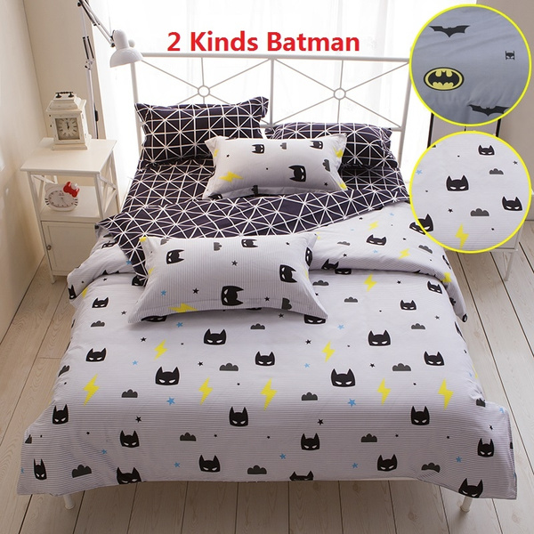2 Kinds Children Batman Pattern Bedclothes Duvet Cover Bed Flat Sheets Pillowcase Blend Cotton Hometexile Bedding Set Twin Double Full Queen King Size Wish