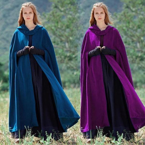 hooded, Coat, Medieval, ladyscloak