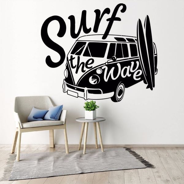 Modern Wall Decal Surf the Wave with Camper Car Wall Sticker Old Vintage Auto Car Wall Mural Vinyl Camper Van Wall Poster   Wish