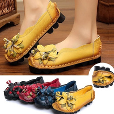 casual shoes, Flats, Flowers, leather shoes