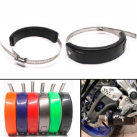 Motorcycle Exhaust Heat Shield Cover Muffler Pipe Guard Leg Anti Hot Universal Protector For Yamaha YZ125 YZ250 YZ250F YZ450F WR250F WR450F All Dirt Bike Off Road Motorbike 610MM Blue