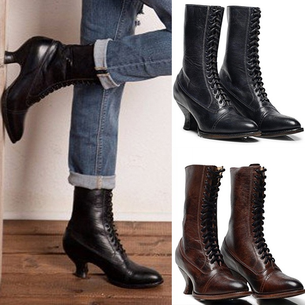 Steampunk Boots Leather Boots Lace-Up