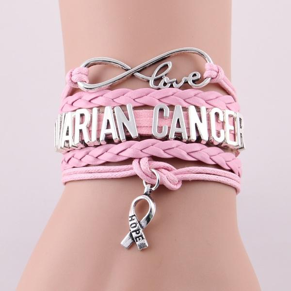 Handmade Infinity Ovarian Cancer Bracelet Ribbon Hope Charm Leather Wrap Awareness Bracelets Bangles For Women Jewelry Wish