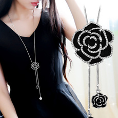 Flowers, Jewelry, long chain necklace, flower necklace