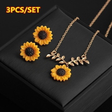 NECKLACE AND EARRING SET, Jewelry, Sunflowers, flower necklace