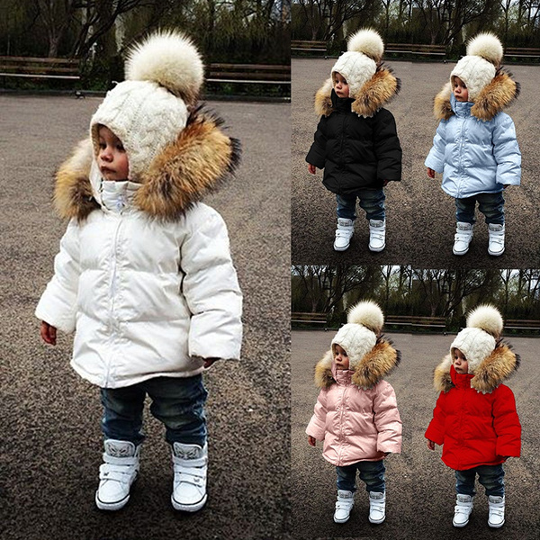 Sweet Child Kids Girls Faux Fur Furry Warm Jacket Parka Trench Coat Fashion Z96
