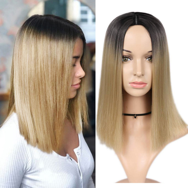 Ombre Blonde Wigs Shoulder Length Bob Wig Heat Resistant Synthetic Hair Party Wigs For Women Wish