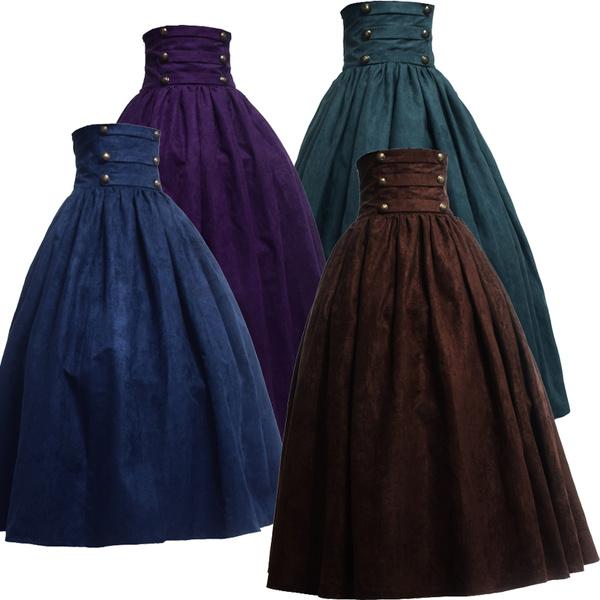 GOTHIC DRESS, retroskirt, Waist, long dress
