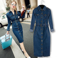 officeslimbigsize, Jeans Dress, Plus Size, Winter