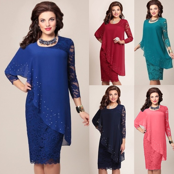 Plus Size, Lace, chiffon, Long Sleeve